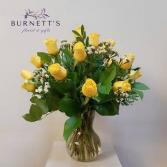 Yellow Roses Vase Arrangement