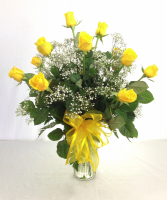 Dozen Yellow Roses Arranged