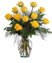 Dozen Yellow Roses Flower Arrangement