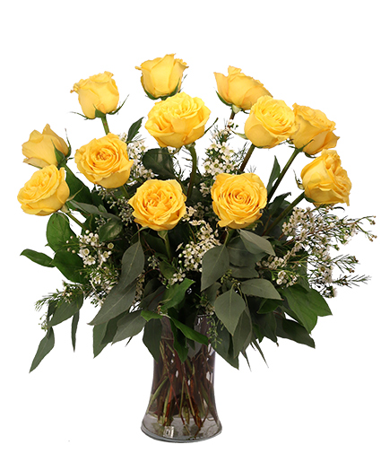 Dozen Yellow Roses Flower Arrangement
