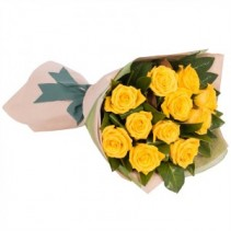 Dozen Yellow Roses Hand Tied Bouquet