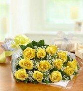 Dozen Yellow Roses Presentation Bouquet