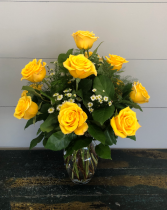 Yellow Roses: Half Dozen, 1 Dozen, or 2 Dozen Vase Arrangement