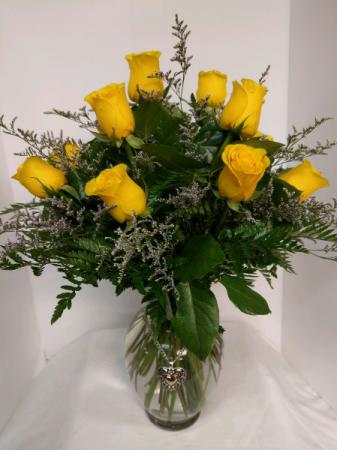 Dozen Yellow Roses with Pendant Vase Arrangement