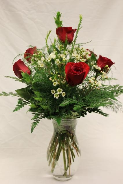Half Dozen Red Rose Vase