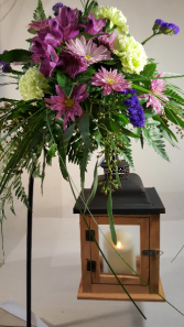 Draping Floral Over Lighted Lantern