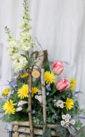 Dreams of Spring Basket Permanent Arrangement by Inspirations Floral Studio