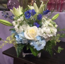 Blue Skies  fresh cut in blue cube vase
