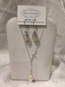 Drop Pearl and Cross Necklace and Earring Set Jewelry