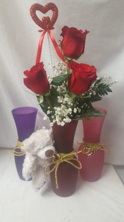 """GOLD HEART VASE WITH BEAR"" INCLUDES 3 RED ROSES WITH BABY'S BREATH AND SMALL BEAR ATTACHED! (Vase color may vary due to limited supply)"