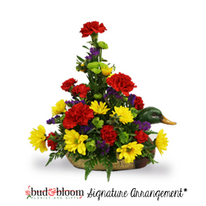 Duck Decoy Bouquet Bud & Bloom Signature Arrangement in Mooresville, IN | BUD AND BLOOM FLORIST AND GIFTS