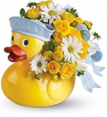 Ducky Delight -Boy                 T34-3 fresh keepsake arrangement