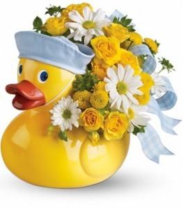 Ducky Delight Boy Keepsake Container Arrangement
