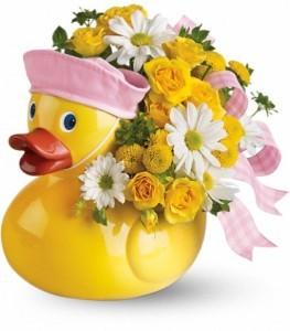 Ducky Delight Girl Keepsake Container Arrangement