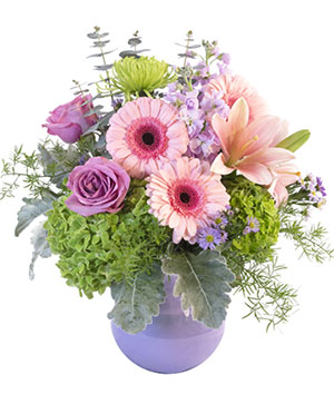 Dusty Pinks & Purples Flower Arrangement in Angleton, TX | A FAMILY FLOWER SHOP & KEEPSAKES