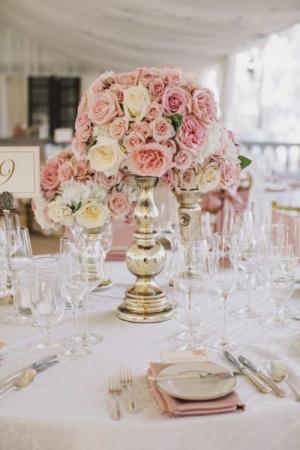 Dusty Rose Vase Wedding Reception in Port Dover, ON | Upsy Daisy Floral Studio