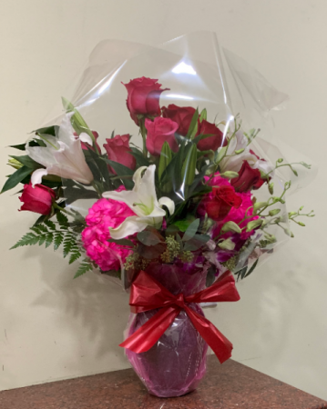 Dynamite love  roses arrangement