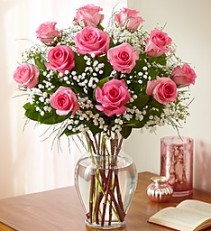 One Dozen Perfectly Pink Roses Free Chocolate or Balloon !!!