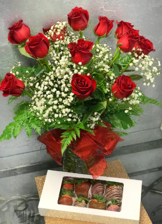 Dz. Red Roses and Dz.Chocolate Dipped Strawberrie  Package