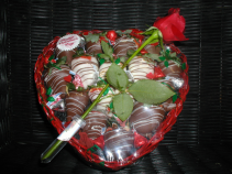 E.) Large Heart Basket Chocolate covered Strawberries