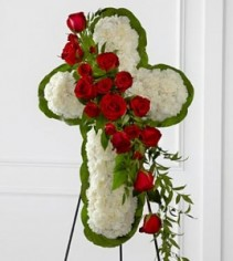 Cross with red and white flowers