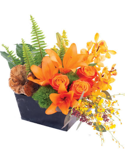 Earthy Lilies & Orchids Floral Arrangement