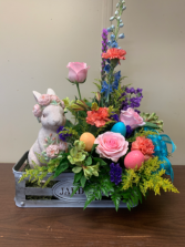 Easter Bliss Fresh Flowers with Resin Bunny