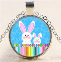 Easter Bunny #31 18 inch silver plated necklace
