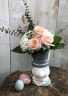 Easter Bunny with TopHat flowers or plant Arrangement in a decorative bunny pot
