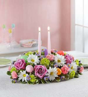 EASTER CENTERPIECE CANDLE CENTERPIECE in Peoria Heights, IL | The Flower Box