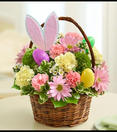 Easter Egg Basket with Bunny Ears Arrangement