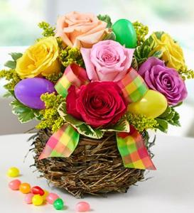 Easter Egg Rose Basket Arrangement