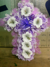 EASTER LILY & ROSE CROSS $24.99