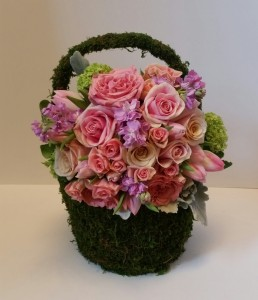 Moss basket in pinks Spring moss basket in Northport, NY | Hengstenberg's Florist