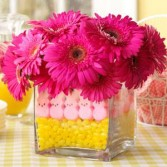 Easter Peeps Gerbera Daisies in festive square vase