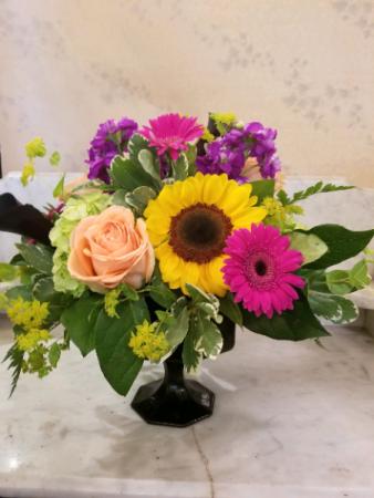 Ebony Sophistication Black pedestal vase