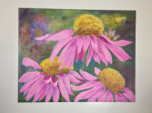 Echinacea Flowers  Acrylic on Canvas Board