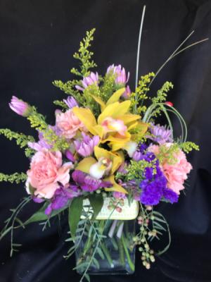 Eclectic Mix Cube Vase in Longview, WA | Banda's Bouquets