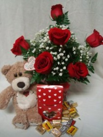 """Most Popular""""BIG HUG VALENTINE'S BOUQUET"" 6 Red roses arranged in a vase with baby's breath, small box of chocolates, and cute tan bear!!!"