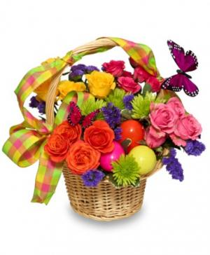 Egg-Cellent Easter Blooms Basket of Flowers in West New York, NJ | JR FLORAL DESIGNS LLC.