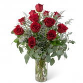 Elegance and Grace Dozen Red Roses Arrangement