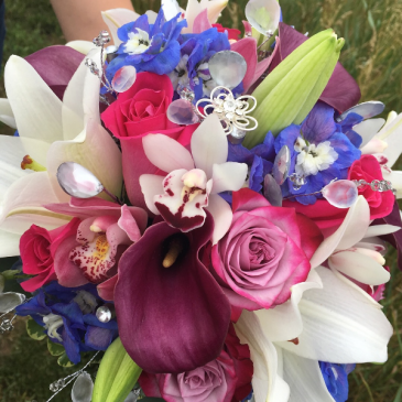 Elegance in Color Cascading Bridal Bouquet