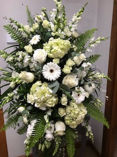 Elegant All White Standing Spray  in Weymouth, MA | DIERSCH FLOWERS