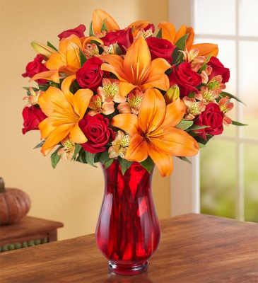 Elegant Autumn Rose and Lily Bouquet