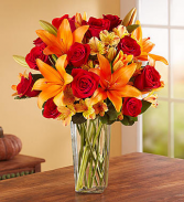 Elegant Autumn Rose & Lily Bouquet Fall Flowers
