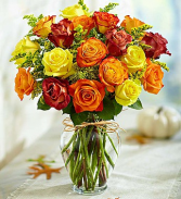 Elegant Autumn Rose Vase Thanksgiving