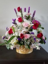 Elegant Basket Mixed with Roses, Lilies, Daisies, Carnations and more!