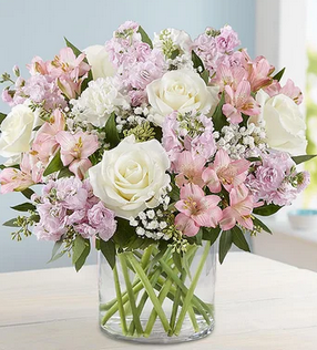 Elegant Blush Blooms Mixed Floral Arrangement