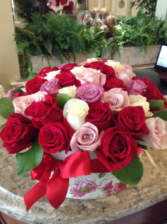 Elegant box of roses