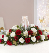 Elegant Christmas centerpiece with hurricane and candle
